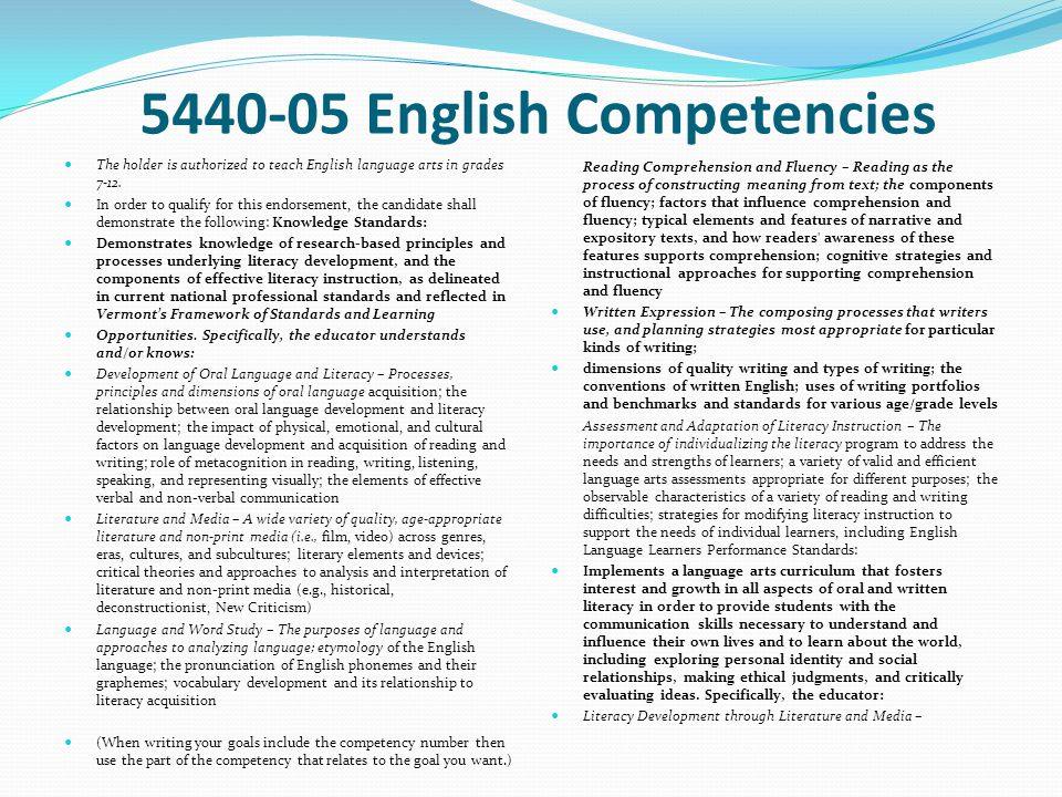5440-05 English Competencies