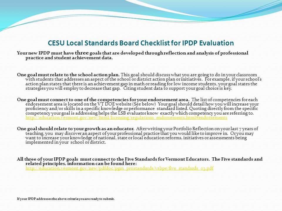 CESU Local Standards Board Checklist for IPDP Evaluation