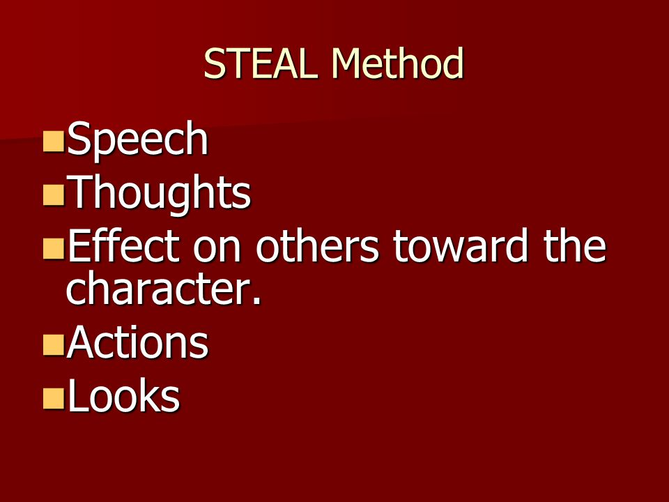 Effect on others toward the character. Actions Looks