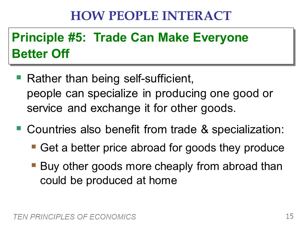 HOW PEOPLE INTERACT Principle #5: Trade Can Make Everyone Better Off