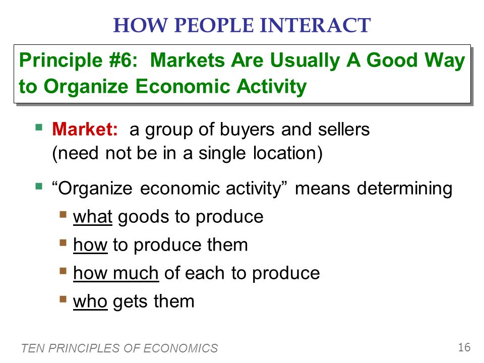 HOW PEOPLE INTERACT Principle #6: Markets Are Usually A Good Way to Organize Economic Activity.