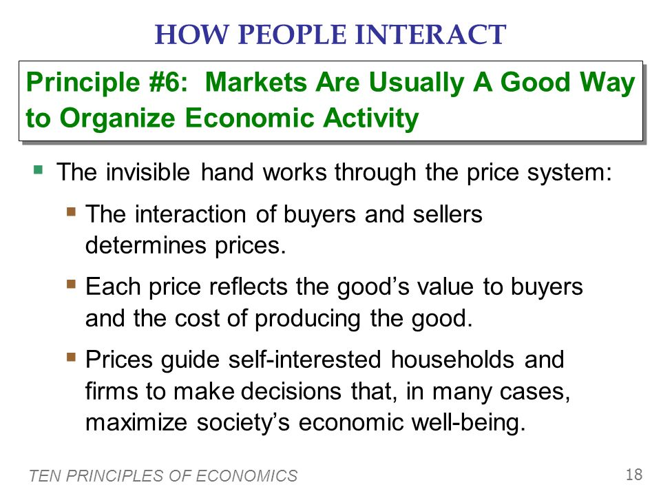 HOW PEOPLE INTERACT Principle #6: Markets Are Usually A Good Way to Organize Economic Activity. The invisible hand works through the price system: