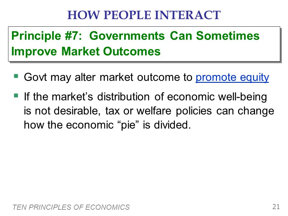 HOW PEOPLE INTERACT Principle #7: Governments Can Sometimes Improve Market Outcomes. Govt may alter market outcome to promote equity.