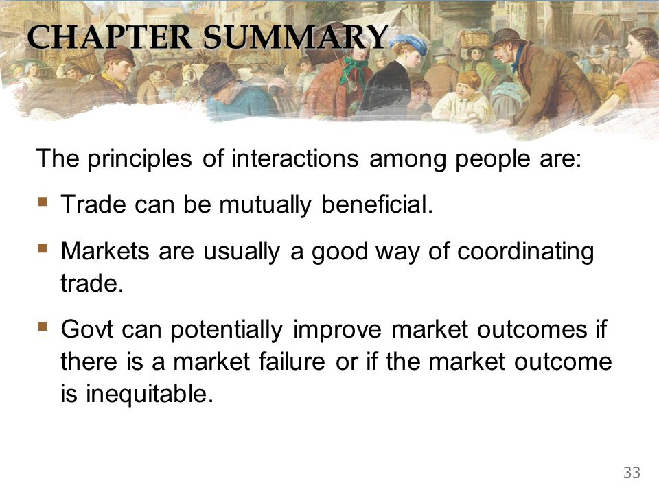 CHAPTER SUMMARY The principles of interactions among people are: