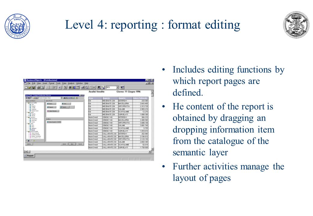 Level 4: reporting : format editing
