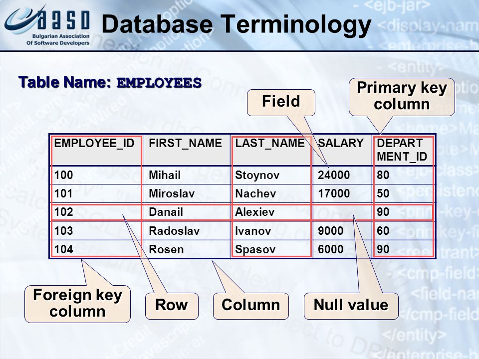 Database Terminology Table Name: EMPLOYEES Primary key column Field