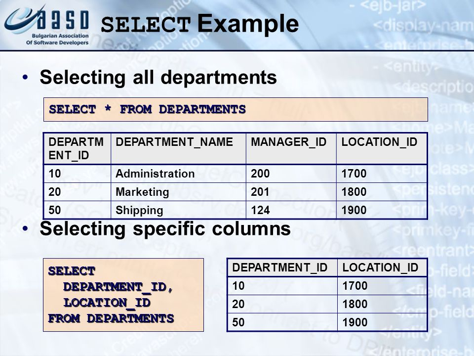 SELECT Example Selecting all departments Selecting specific columns