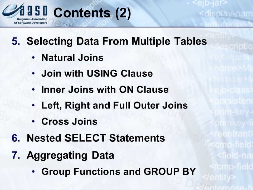 Contents (2) Selecting Data From Multiple Tables
