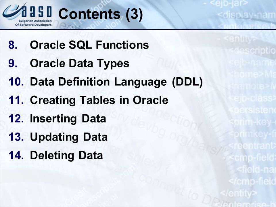 Contents (3) Oracle SQL Functions Oracle Data Types
