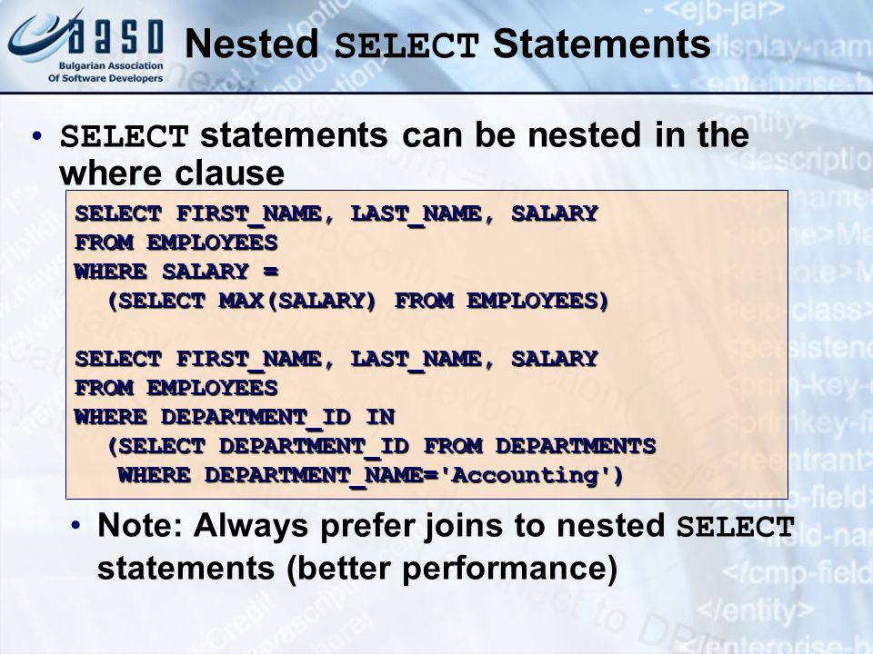 Nested SELECT Statements