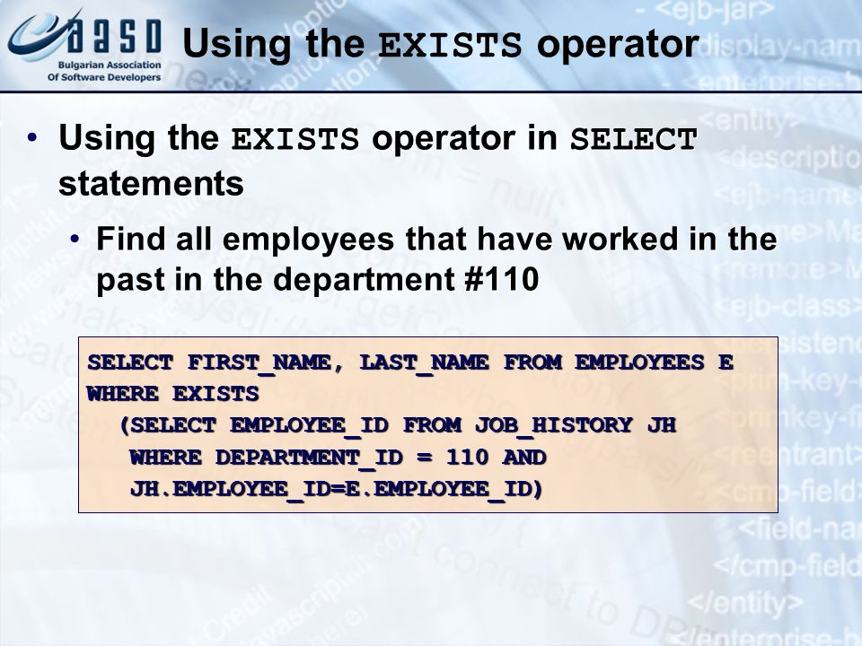 Using the EXISTS operator