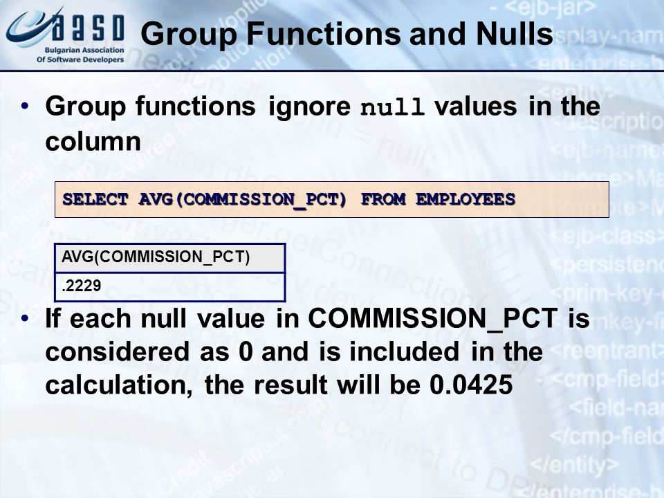 Group Functions and Nulls