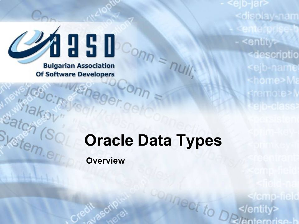Oracle Data Types Overview * 07/16/96