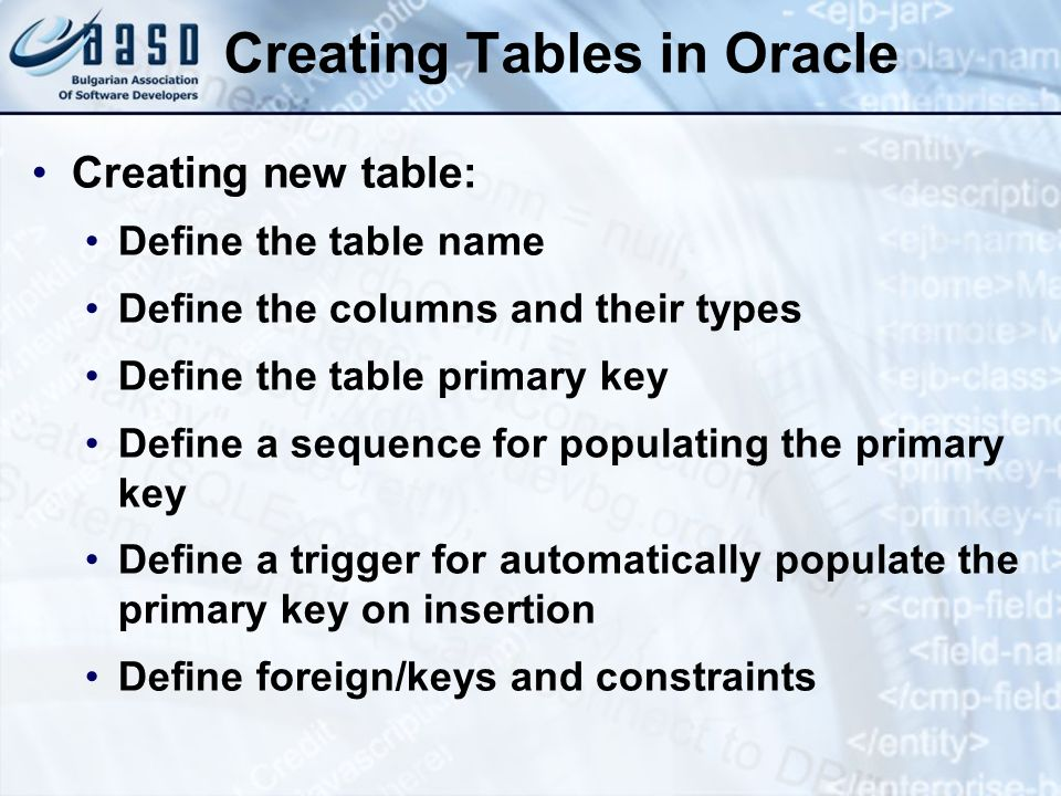 Creating Tables in Oracle