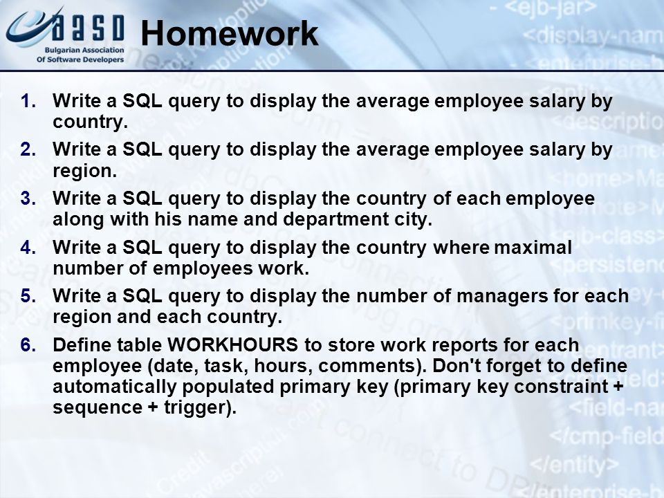 Homework Write a SQL query to display the average employee salary by country. Write a SQL query to display the average employee salary by region.