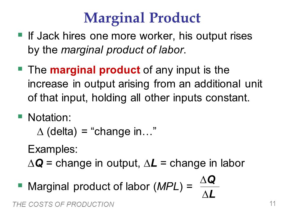 Marginal Product If Jack hires one more worker, his output rises by the marginal product of labor.