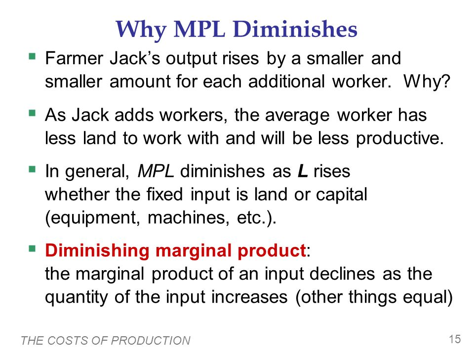 Why MPL Diminishes Farmer Jack's output rises by a smaller and smaller amount for each additional worker. Why