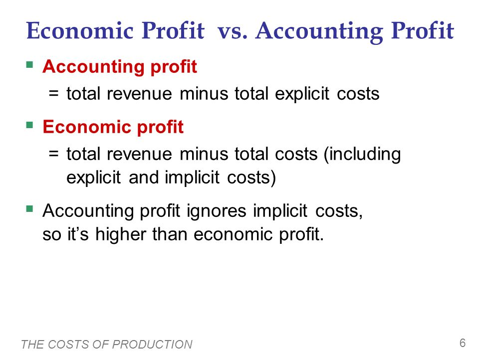 Economic Profit vs. Accounting Profit
