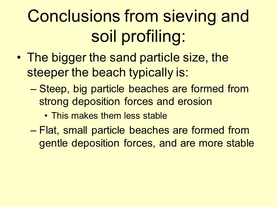 Conclusions from sieving and soil profiling: