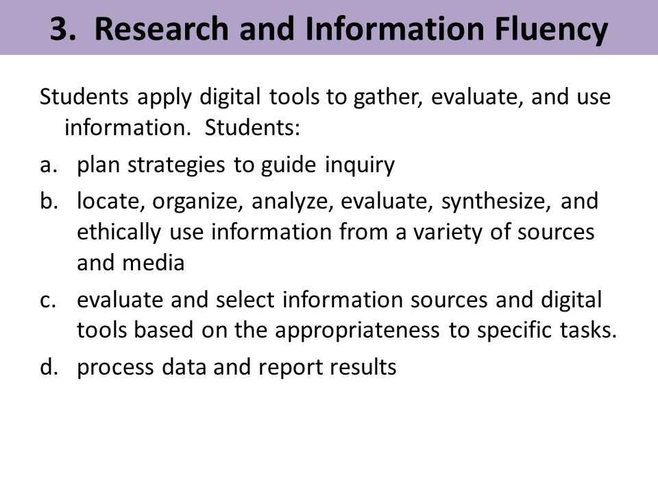 3. Research and Information Fluency