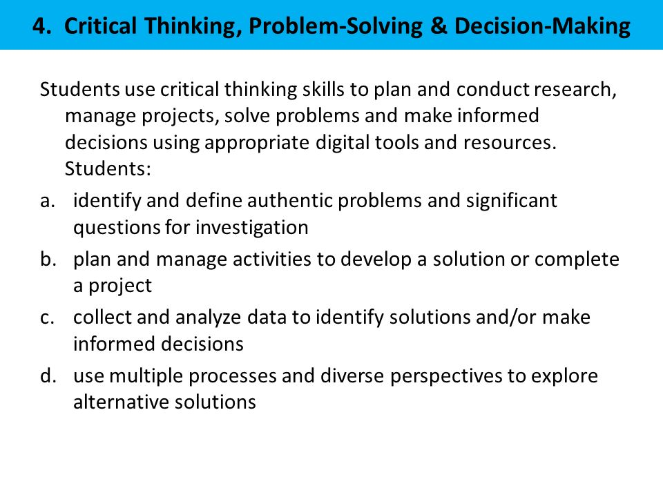 4. Critical Thinking, Problem-Solving & Decision-Making