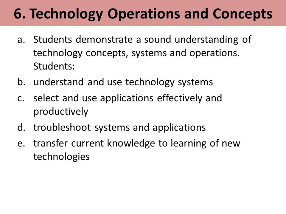 6. Technology Operations and Concepts