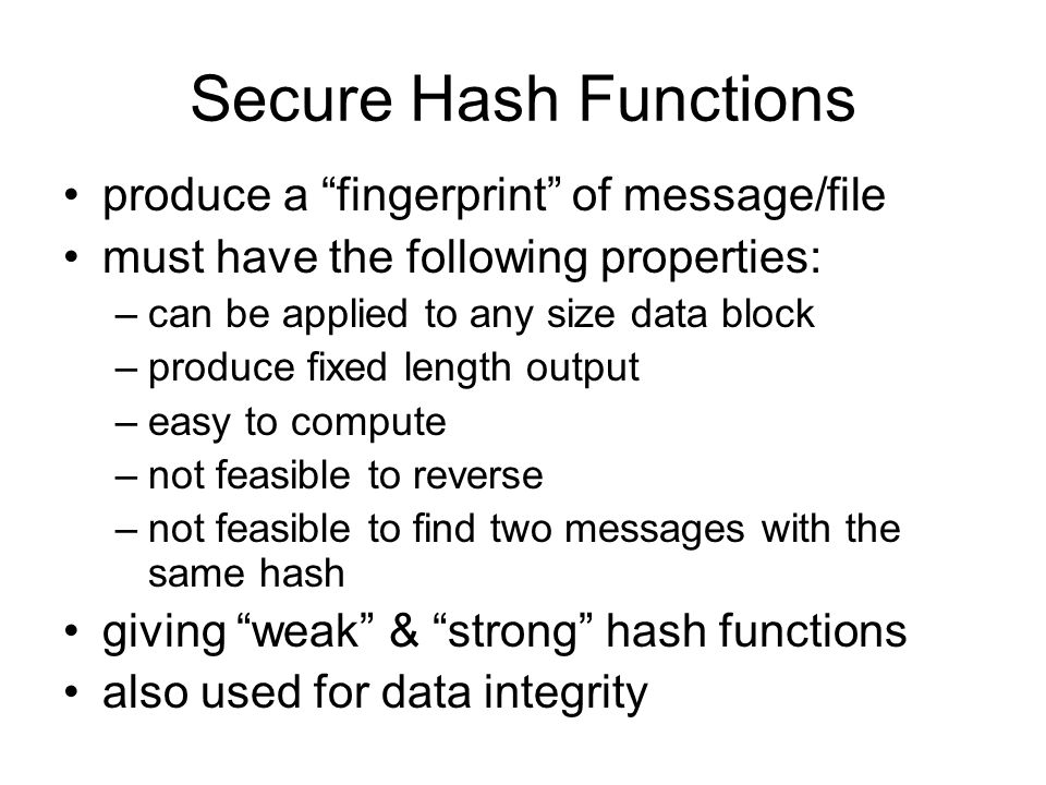 Secure Hash Functions produce a fingerprint of message/file