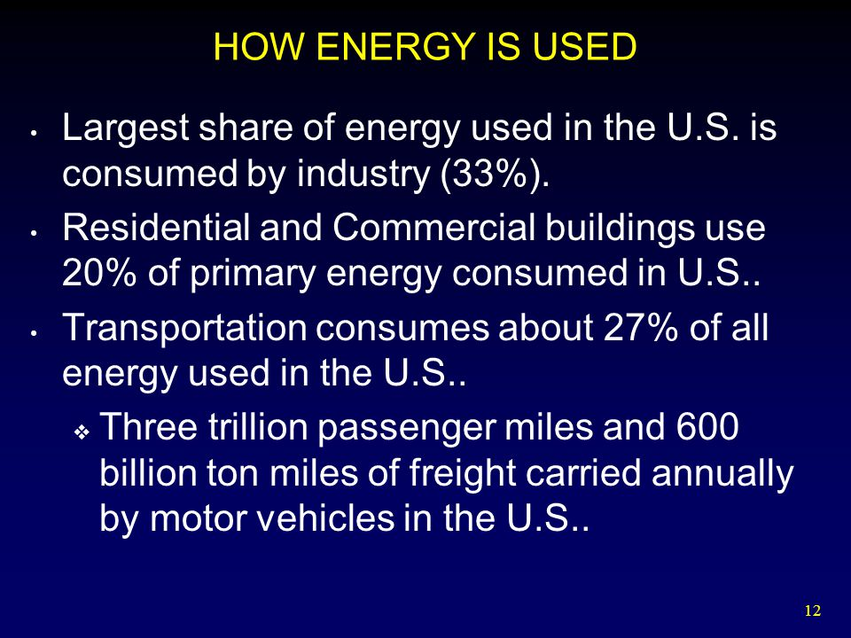 HOW ENERGY IS USED Largest share of energy used in the U.S. is consumed by industry (33%).