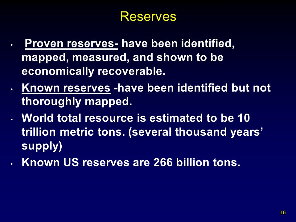 Reserves Proven reserves- have been identified, mapped, measured, and shown to be economically recoverable.