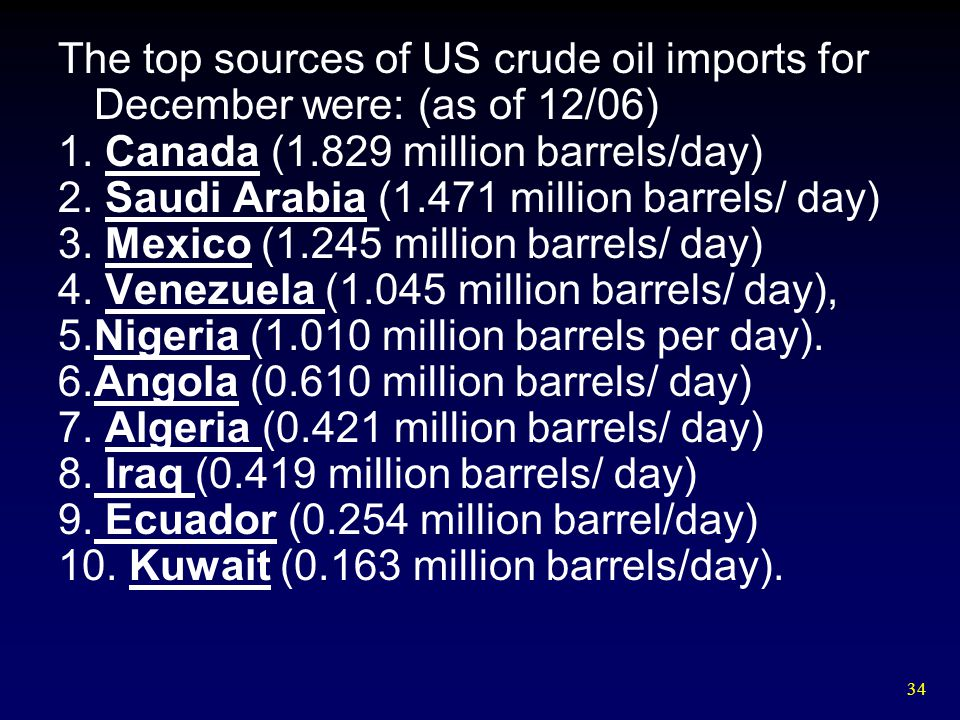 The top sources of US crude oil imports for December were: (as of 12/06)