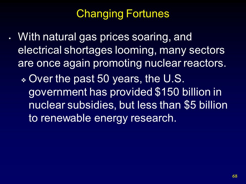 Changing Fortunes With natural gas prices soaring, and electrical shortages looming, many sectors are once again promoting nuclear reactors.