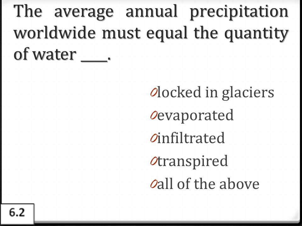 The average annual precipitation worldwide must equal the quantity of water ____.