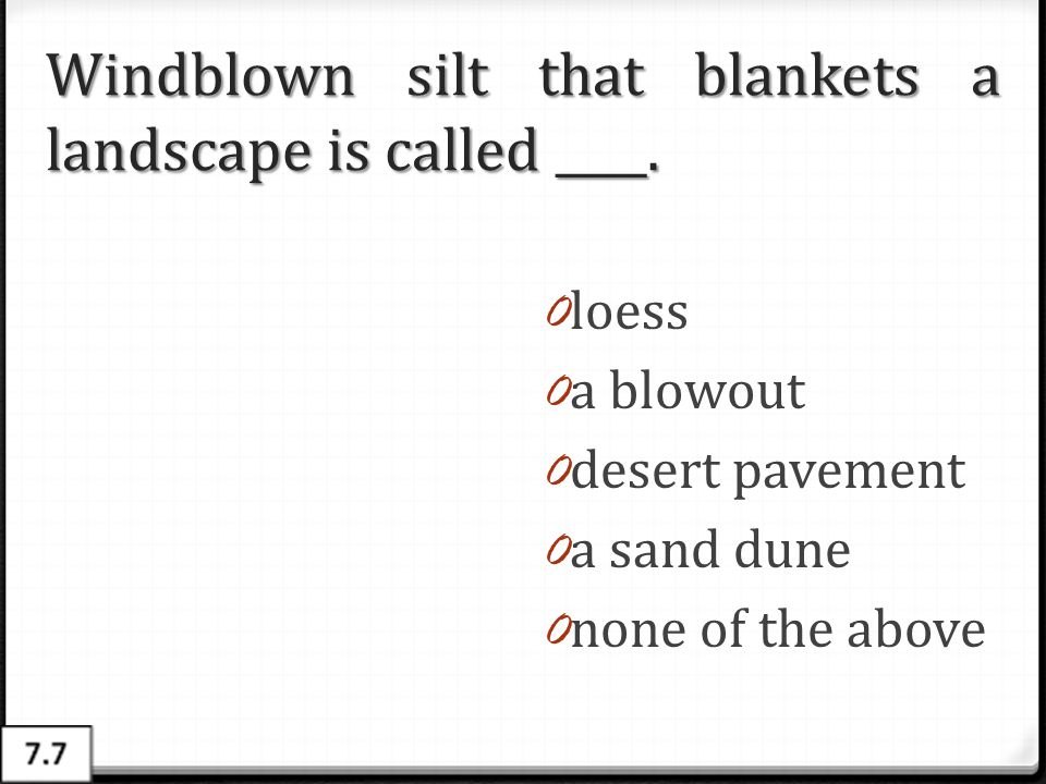 Windblown silt that blankets a landscape is called ____.