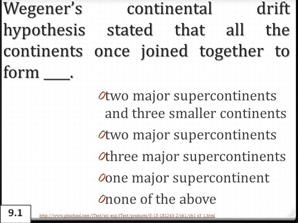 Wegener's continental drift hypothesis stated that all the continents once joined together to form ____.
