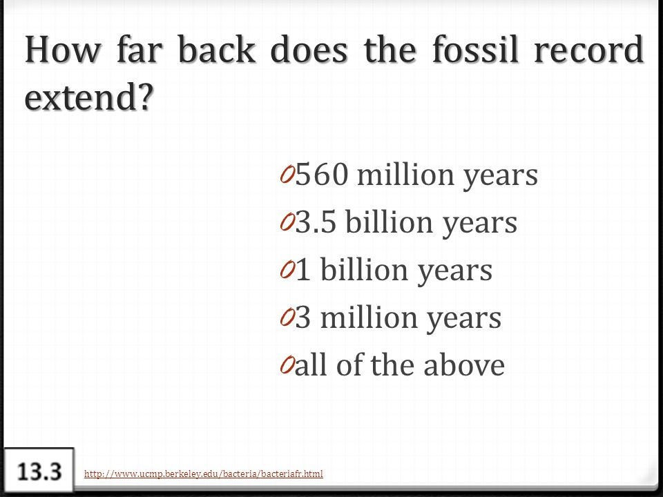 How far back does the fossil record extend