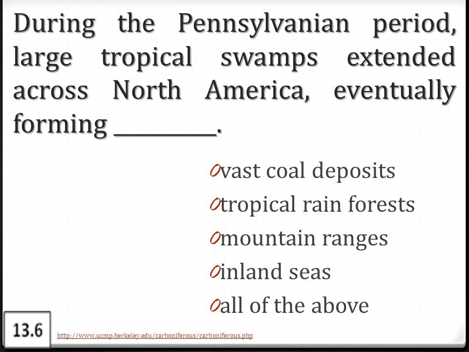 During the Pennsylvanian period, large tropical swamps extended across North America, eventually forming __________.