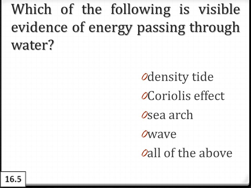 Which of the following is visible evidence of energy passing through water