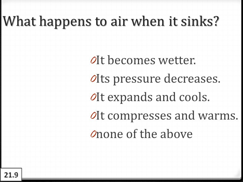 What happens to air when it sinks