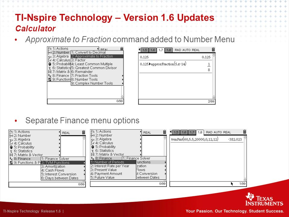 TI-Nspire Technology – Version 1.6 Updates