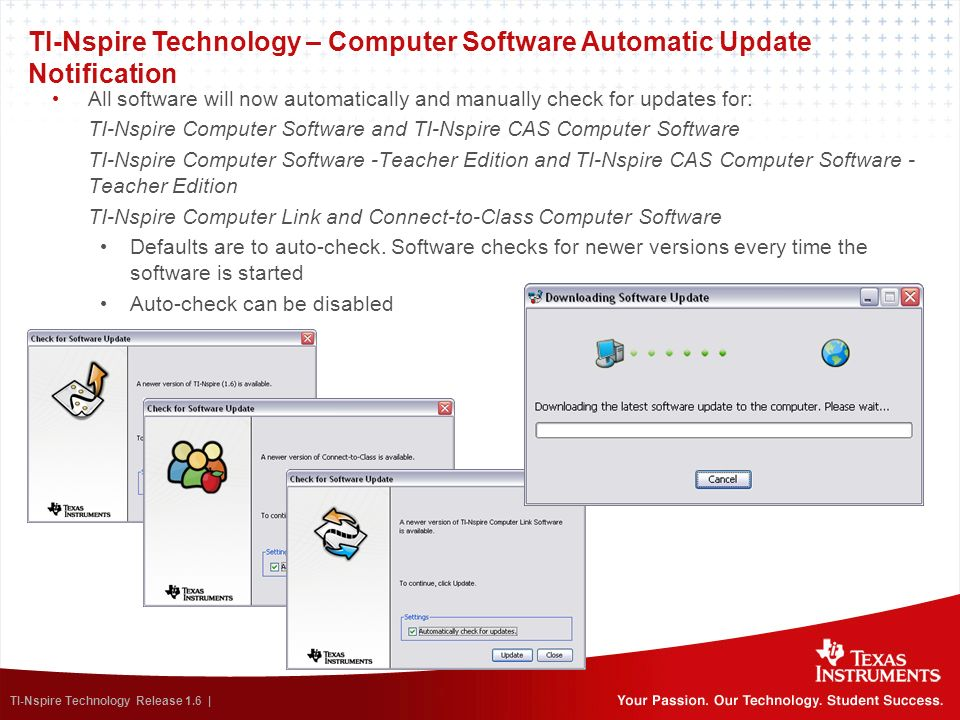 TI-Nspire Technology – Computer Software Automatic Update Notification
