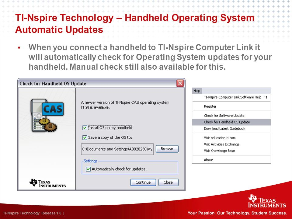 TI-Nspire Technology – Handheld Operating System Automatic Updates