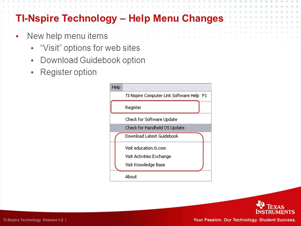 TI-Nspire Technology – Help Menu Changes