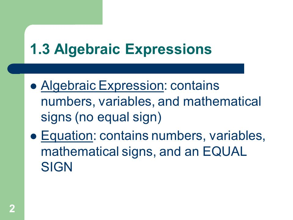 Chapter 1: Expressions, Equations, & Inequalities - ppt video online ...