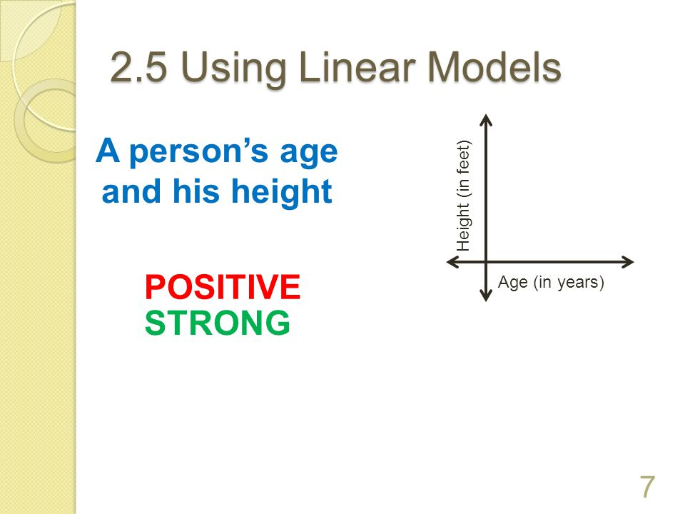 A person's age and his height