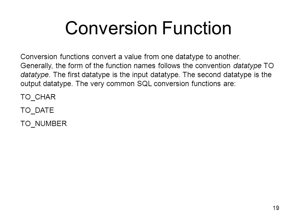 Conversion Function