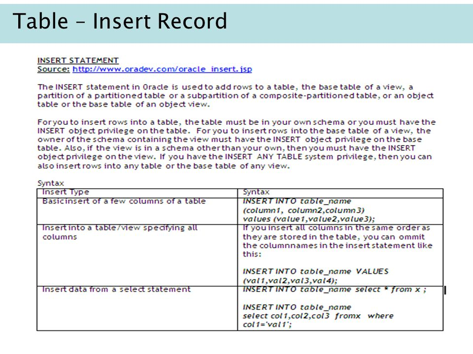 Table – Insert Record