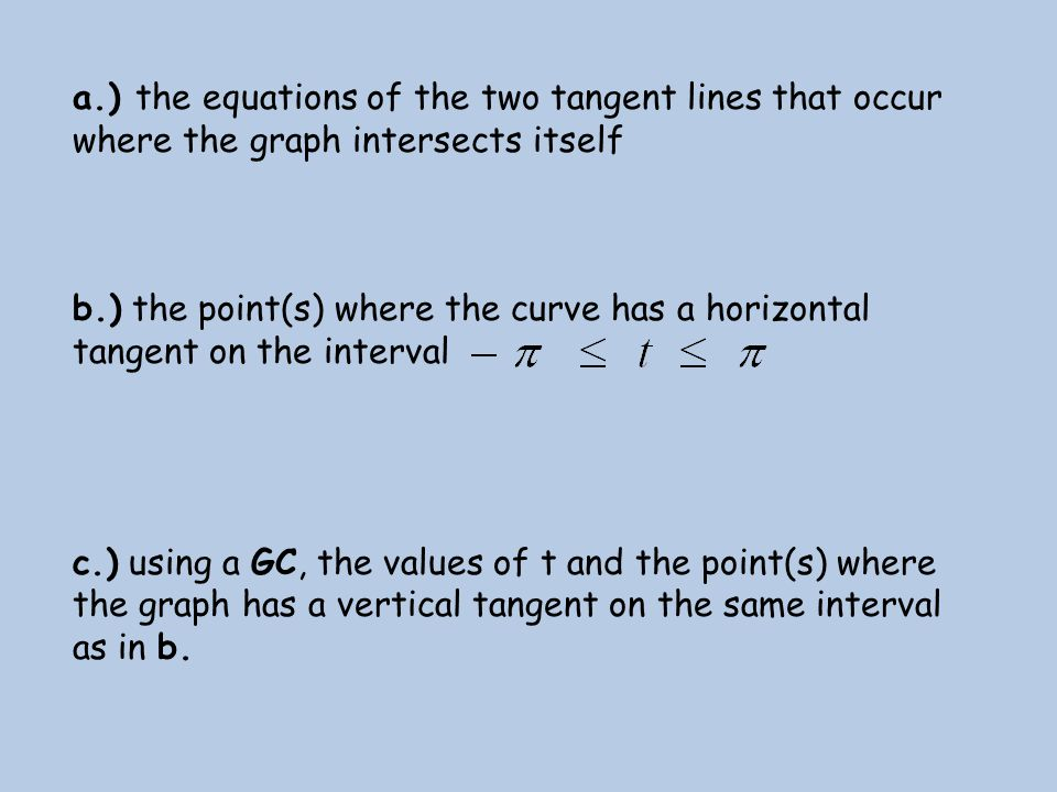 a.) the equations of the two tangent lines that occur where the graph intersects itself