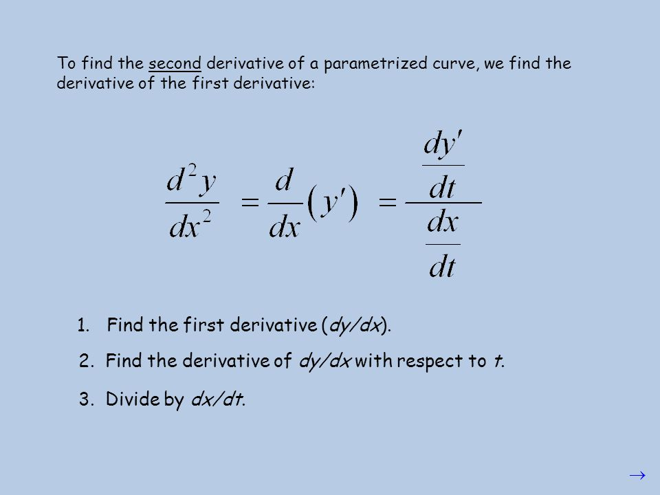 1. Find the first derivative (dy/dx).