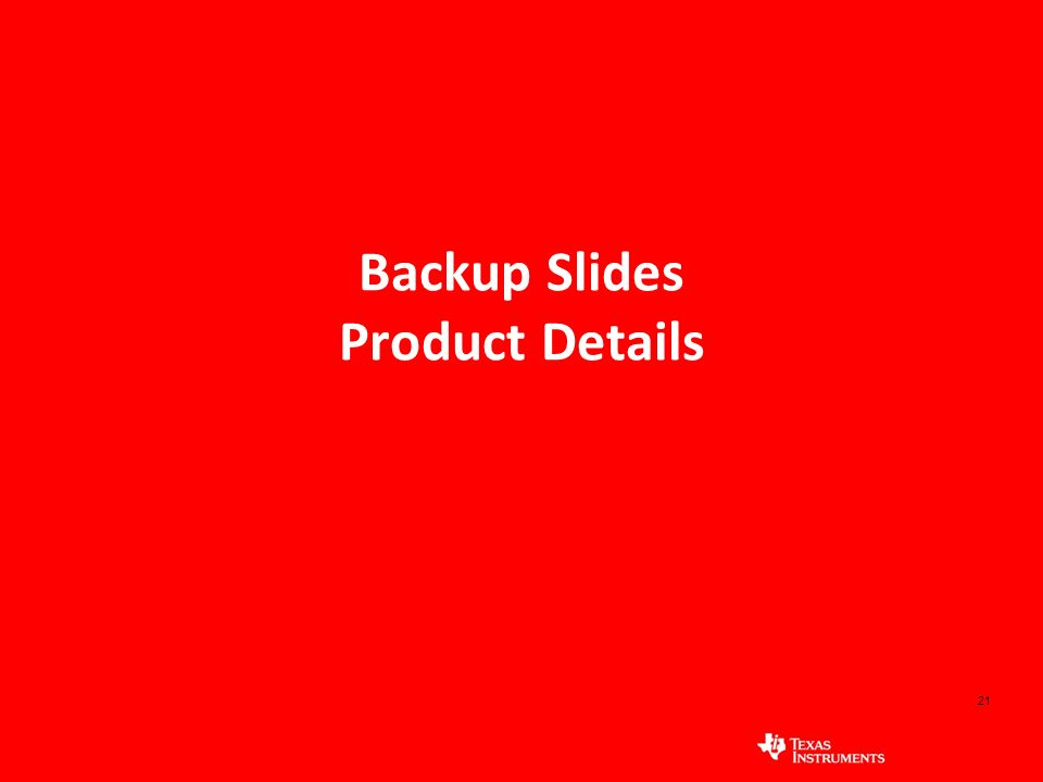 Backup Slides Product Details