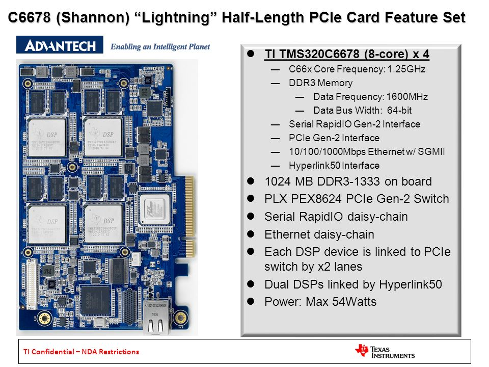 C6678 (Shannon) Lightning Half-Length PCIe Card Feature Set